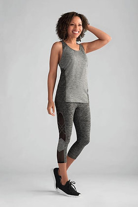 Amoena Melange Mastectomy Sports Top - Grey Melange 44531 L, XL