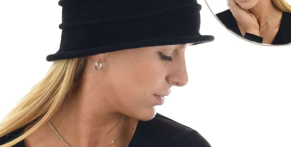 Striped Stretch Wool Cloche - Black Only