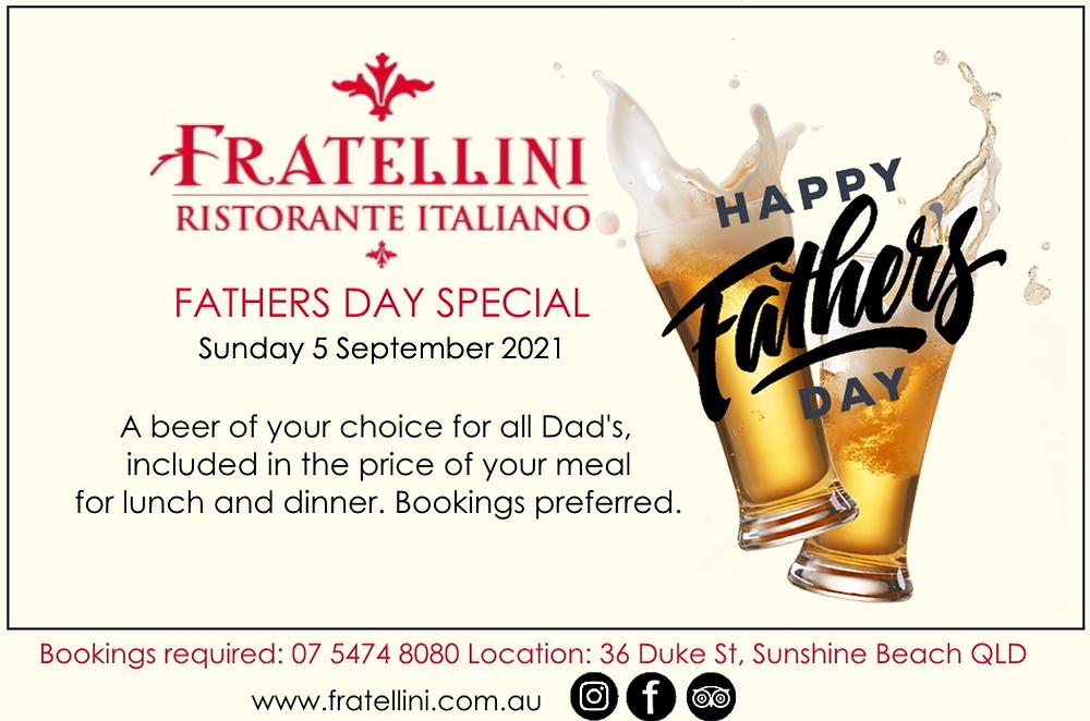 Fathers Day specials Italian restaurants Noosa