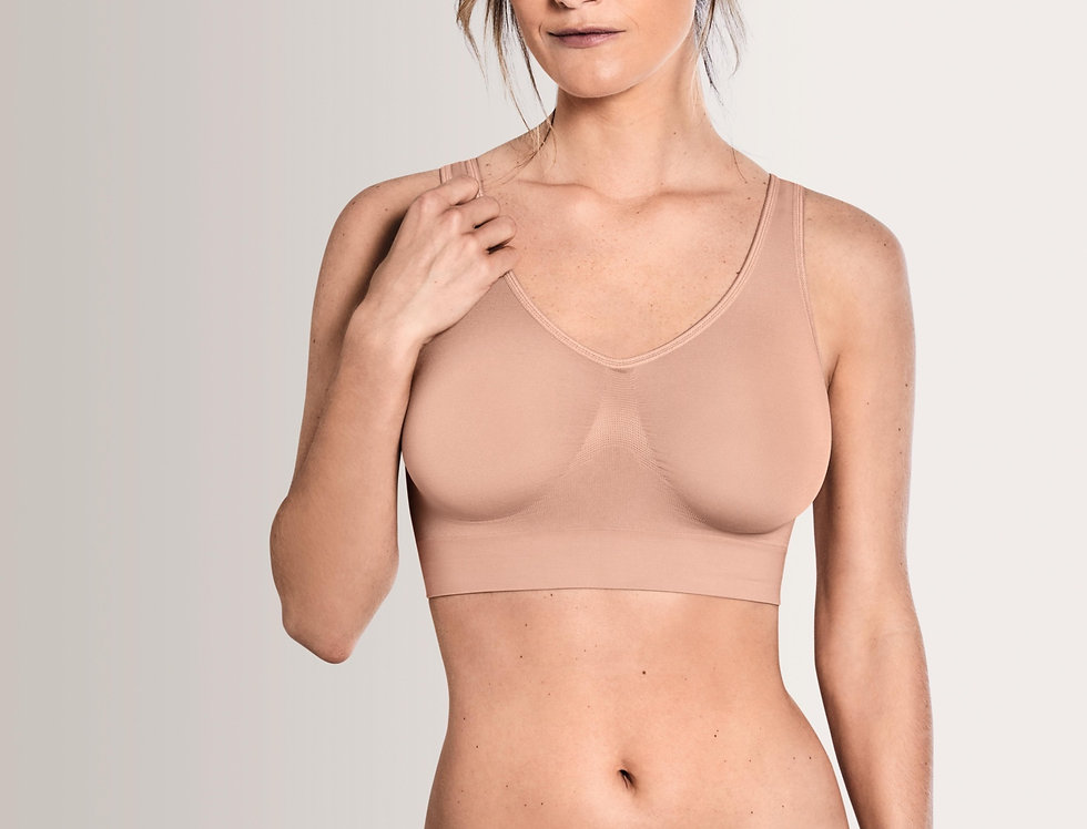 Amoena Soft Bustier Non-Wired Bra - Rose Nude 44535 (non pocketed)