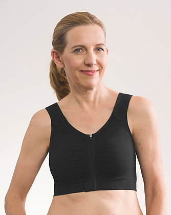 Amoena Leyla Seamless Non Underwire Pocketed Post Surgical Bra - Black 44606