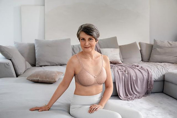 Amoena Lola Padded Non-wired Mastectomy Bra - Light taupe / dark taupe 44626