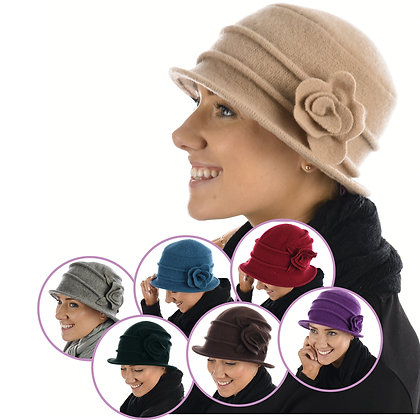 20S Wool Cloche Flower - Assorted Colours