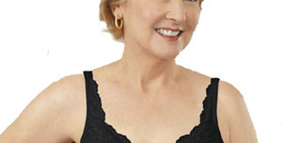 ABC 101 Soft Cup Non Underwire Mastectomy Bra - Lace Front Black