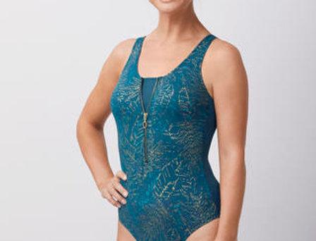 Amoena Futuna One-Piece Zipper Swimsuit - Dark Jade / Gold 71417