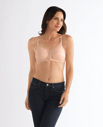 Amoena Ellen Non Underwire Front and Rear Opening Mastectomy Bra Rose Nude 44419