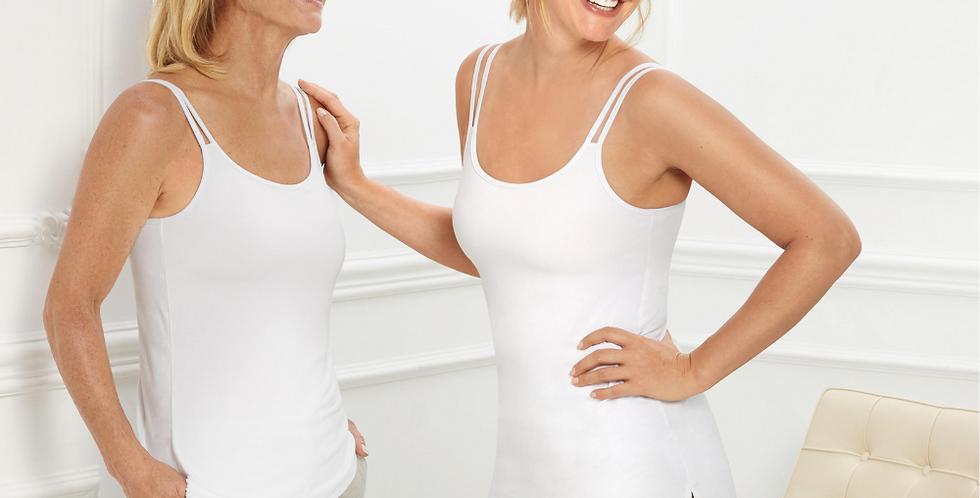 Amoena Valletta Tall Mastectomy Singlet - White 71512 (extra length)
