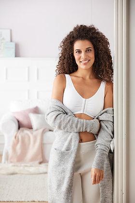 Amoena Fleur Non Underwire Front Opening Mastectomy/Leisure Bra White 44672
