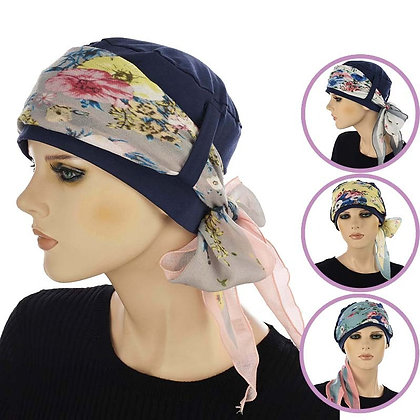 Cotton Turban With Floral Scarf Band Small/Medium White Scarf Only