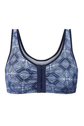 Amoena Frances Non Underwire Mastectomy Bra Blue/White 2128