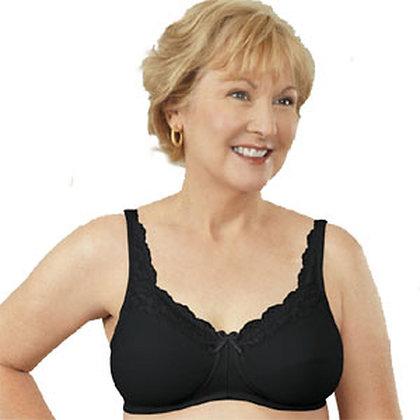 ABC 101 Non Underwire Mastectomy Bra Lace Front Black