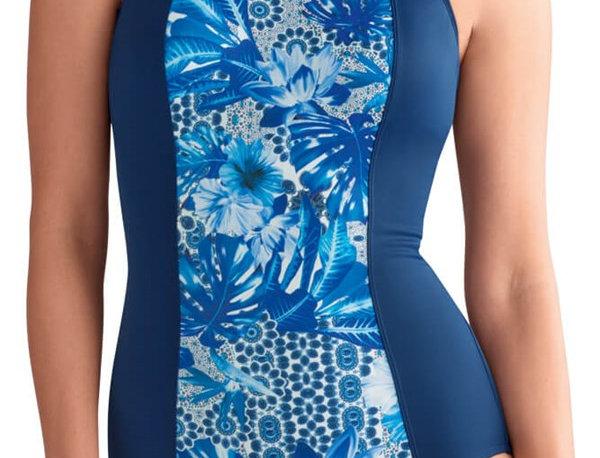 Amoena Bahamas Full Bodice Mastectomy Swimsuit - Navy Blue / Royal Blue 71269 si