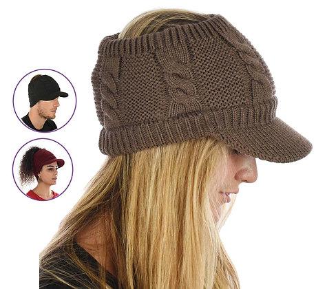 Knit Twist Visor Hat - Brown Only
