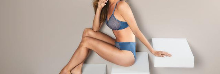 Amoena Maya Padded Non Wired Mastectomy Bra Cornflower Blue / Rose 44549