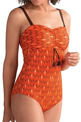 Amoena Buenos Aires One Piece Mastectomy Swimsuit - Sunset Orange / Gold 71260