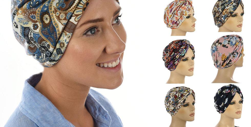 Soft Floral Print Turban Hat