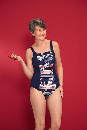 Amoena Capri Full-Bodice Mastectomy Swimsuit - 71366 dark blue / multi