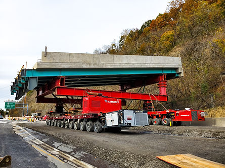 Tunstall Engineering worked with massive SPMT movers to place a large sectio of bridge on the West End of Pittsburgh. Tunstall was the Engineer of Record for the Mammoet SPMT move. Tunstall also handled Alternate Designs for the projects substructure.