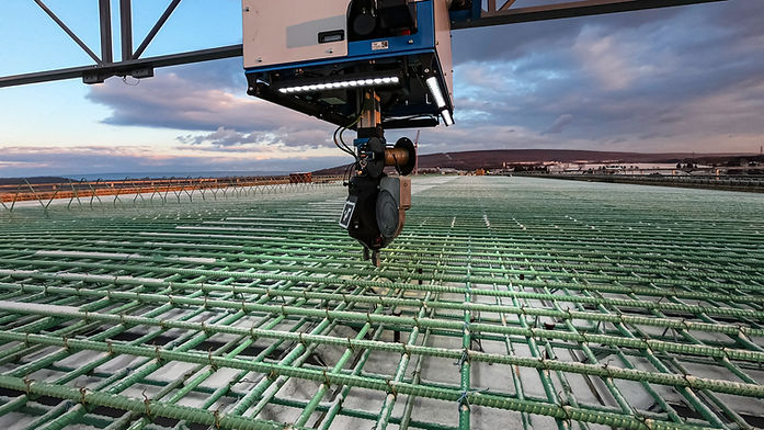 TyBot self identifies and ties rebar intersections in any weather condition.