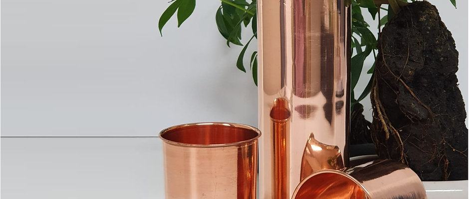 Copper Water Bottle with Two Copper Tumbler Drinking Cups Set