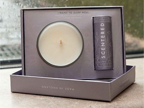 Scentered Sleep Well Candle and Balm Well-Being Set