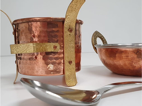 Handmade Copper Warmer with Bowl and Serving Spoon Set