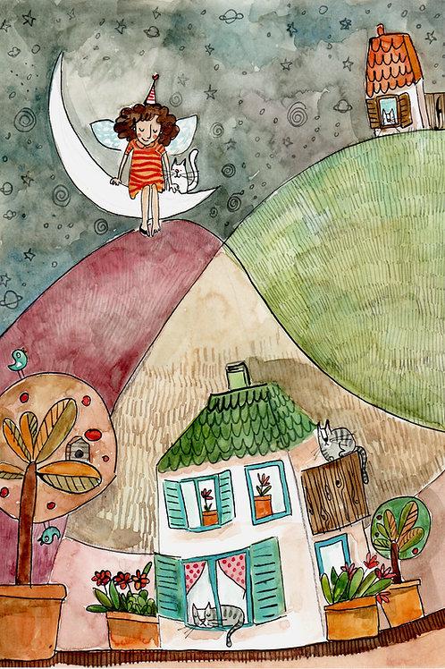 angel guardian of your night - original illustration