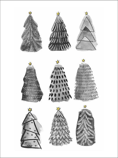 Christmas trees, poster 30x40 cm