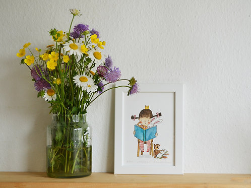 Reading girl, small art print