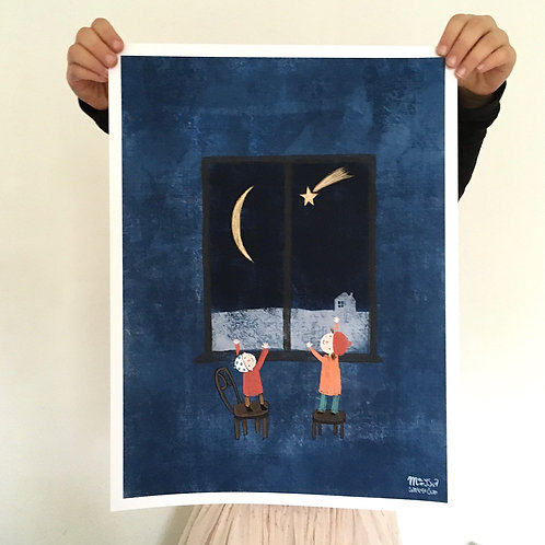 Waiting for the first star, poster 30 x40