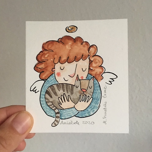 tiny Angel with a cat
