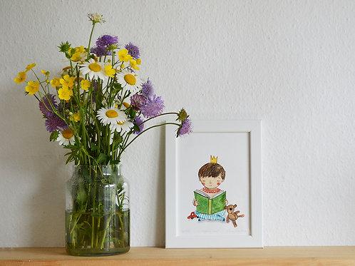 Reading boy, small art print