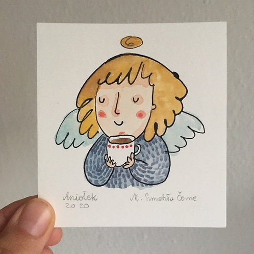 tiny Angel with a cup of tea (or maybe coffee)