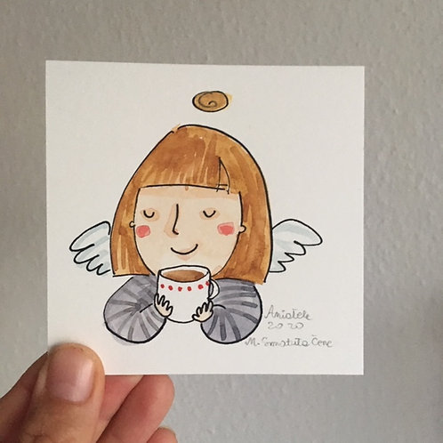 Angel with a cup of coffee