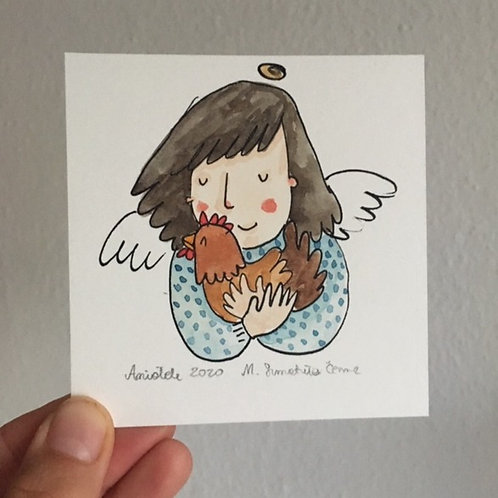tiny Agnel with a chicken - original picture