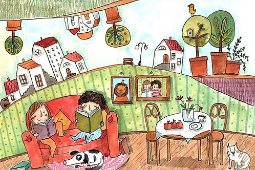 Reading -original illustration