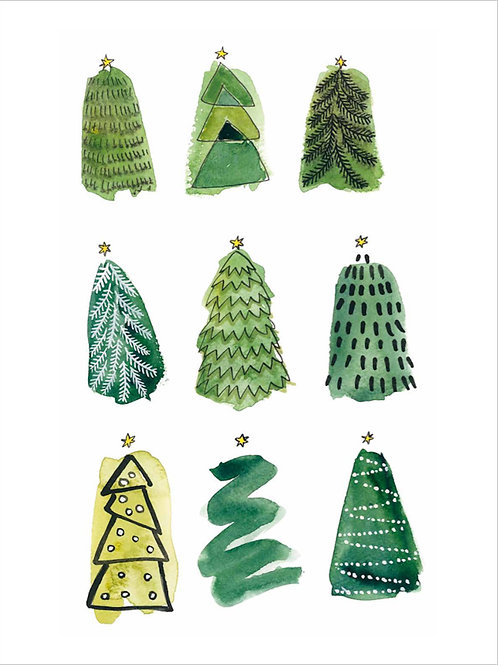 Christmas trees in green, poster 30x40 cm