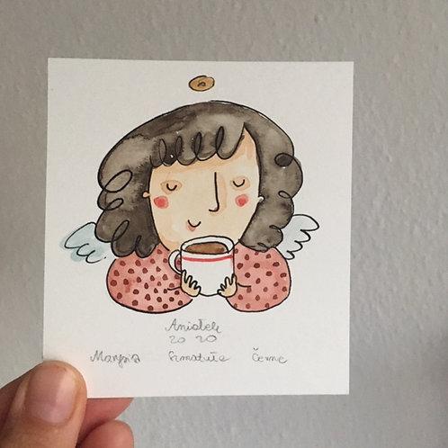 dark hair Angel with a cup of tea