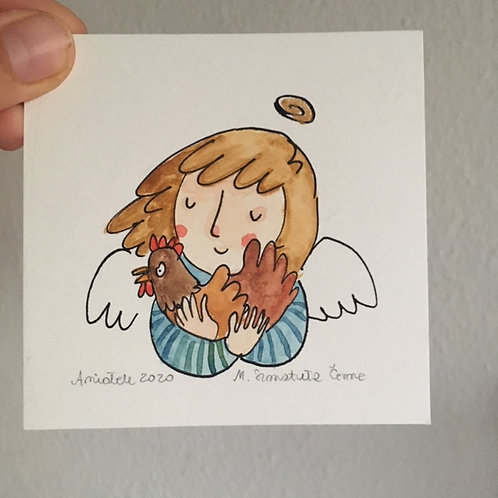 tiny Angel with a hen