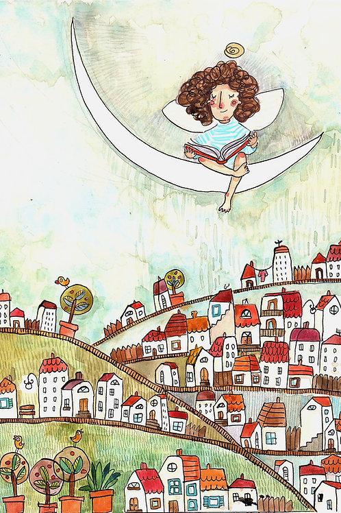 reading angel -original illustration