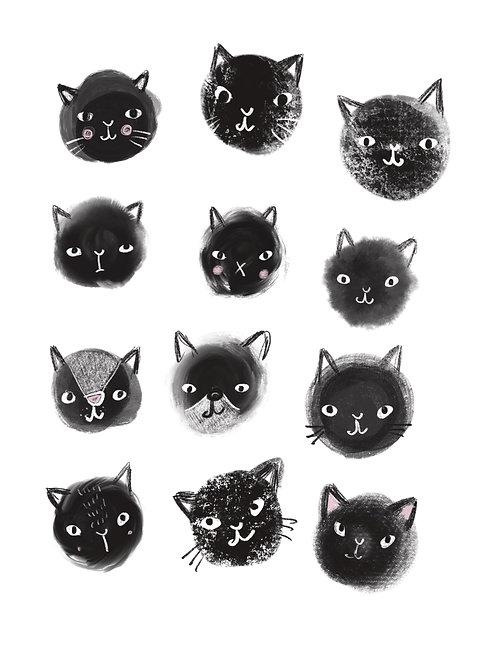 black cats, poster 30 x40 cm