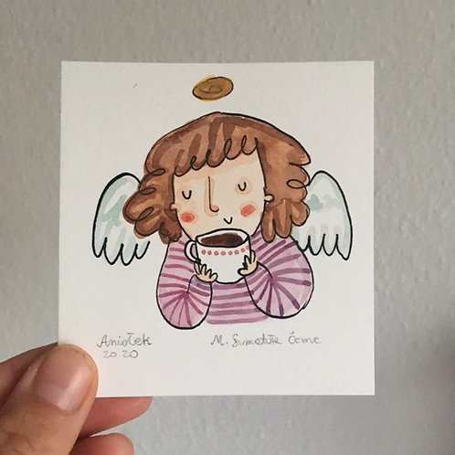 Angel with a cup of hot chocolate