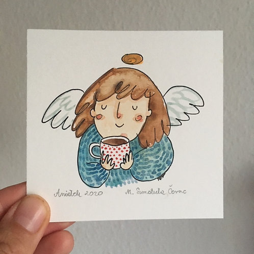 Angel with a dotted cup of tea