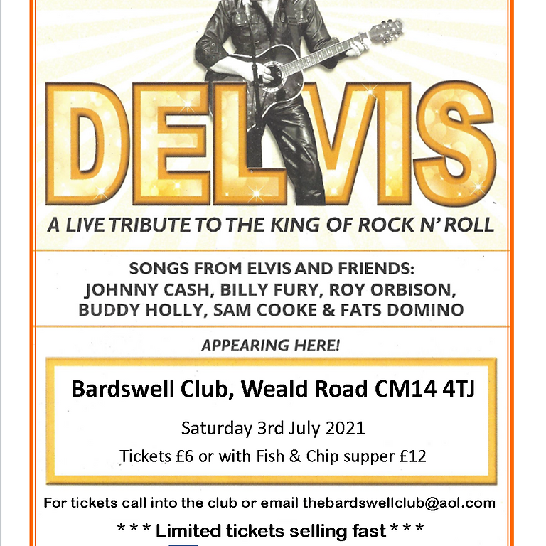ELVIS Tribute Night with optional Fish and Chip supper