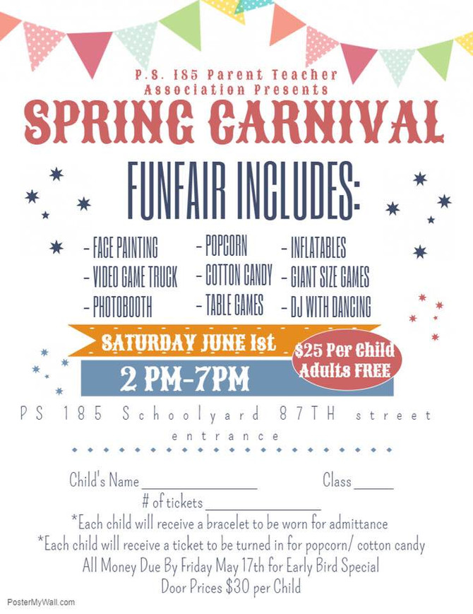 SPRING CARNIVAL, MOVIE DAY, PS 185 APPAREL & CYCLONES