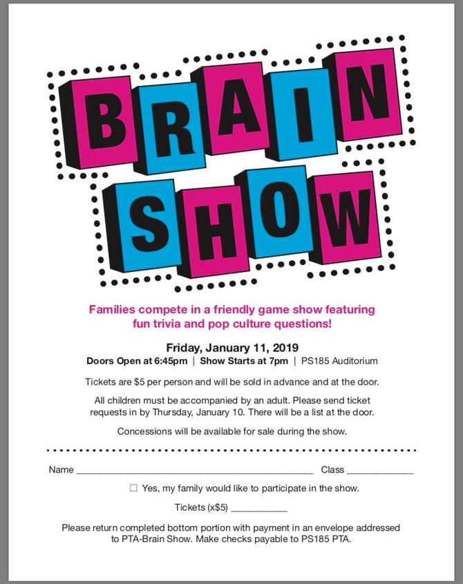 Brain Show, Chip Friday, Food Drive, College Awareness and Important Fifth Grade Announcements