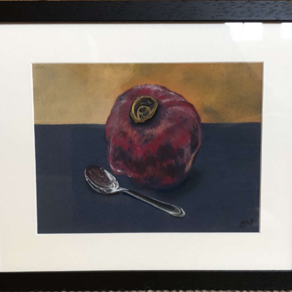 Pomegranate and spoon, Gill Whitehead