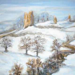 'Snow at Hadleigh Castle' -Acrylic.JPG