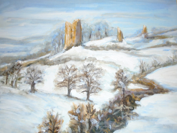 'Snow at Hadleigh Castle' -Acrylic.JPG