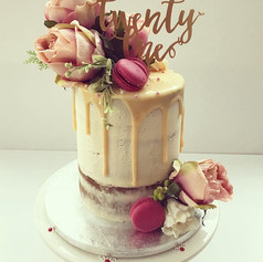 Absolutely love this beautiful cake with my faveeee flowers peonies 💖 tall semi naked lemon sponge with white choc drip, pink macaroons and_